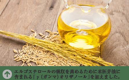 エルゴステロールの吸収を高めるために米胚芽油に含まれる「γ(ガンマ)オリザノール」を加えました。